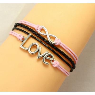 Rózsaszín-fekete szerelem karkötő