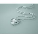 Gravírozható ezüstözött szíves nyaklánc