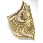 Arany, hímzett, népi motívumos karkötő