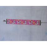 Szalag karkötő rózsaszín cicás